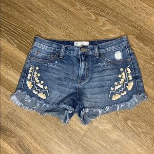 Free People denim shorts with embroidery size 26